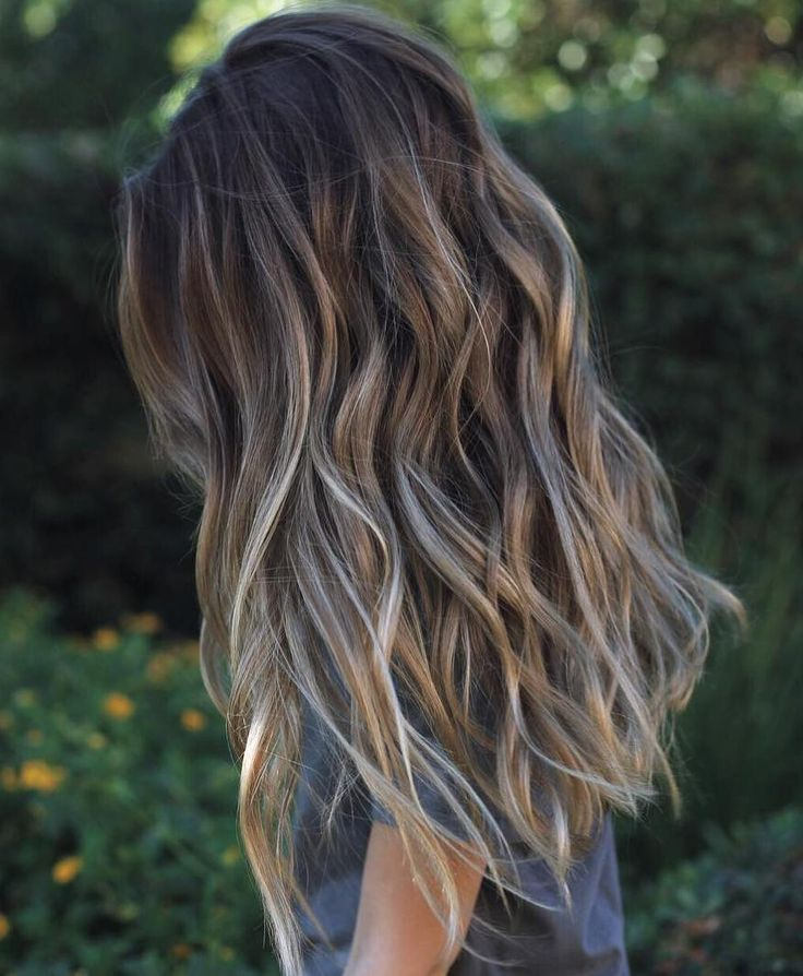 Longbrownhairwithgrayhighlights Long Hairstyles Pinterest