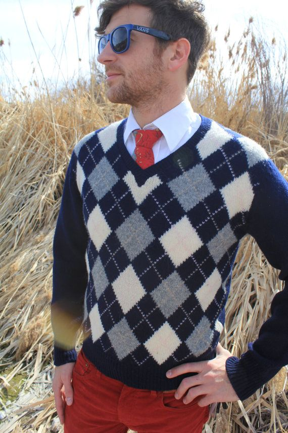 Dapper Dan - Vintage Argyle Navy Blue Wool V-neck Sweater, Byford, Medium