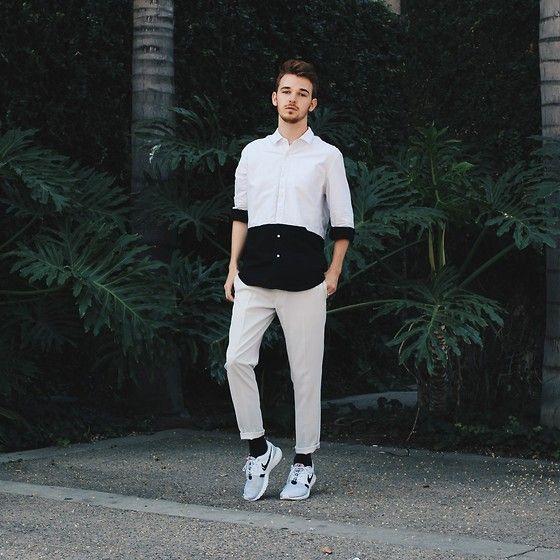 Forever 21 Paneled Button Up, Zara Grey Trousers, Nike Roshe Runs