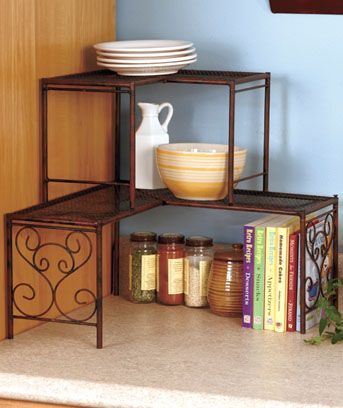 Corner Shelves Eliminate Dead Space Bronze Kitchen Decor Shelves