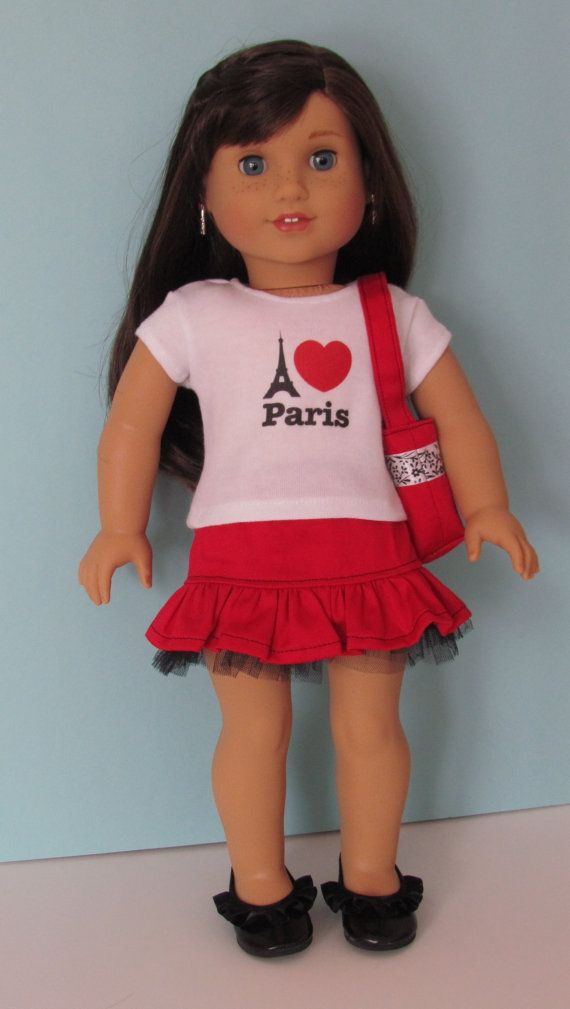 Hey, I found this really awesome Etsy listing at https://www.etsy.com/listing/218875919/american-girl-i-love-paris-tshirtred
