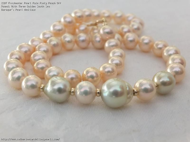 Freshwater Pearl Pale Pinky Peach Off Rounds With Three Golden South Sea Baroque S Pearl Necklac Pearl Jewellery Earrings Baroque Pearl Necklace Baroque Pearls