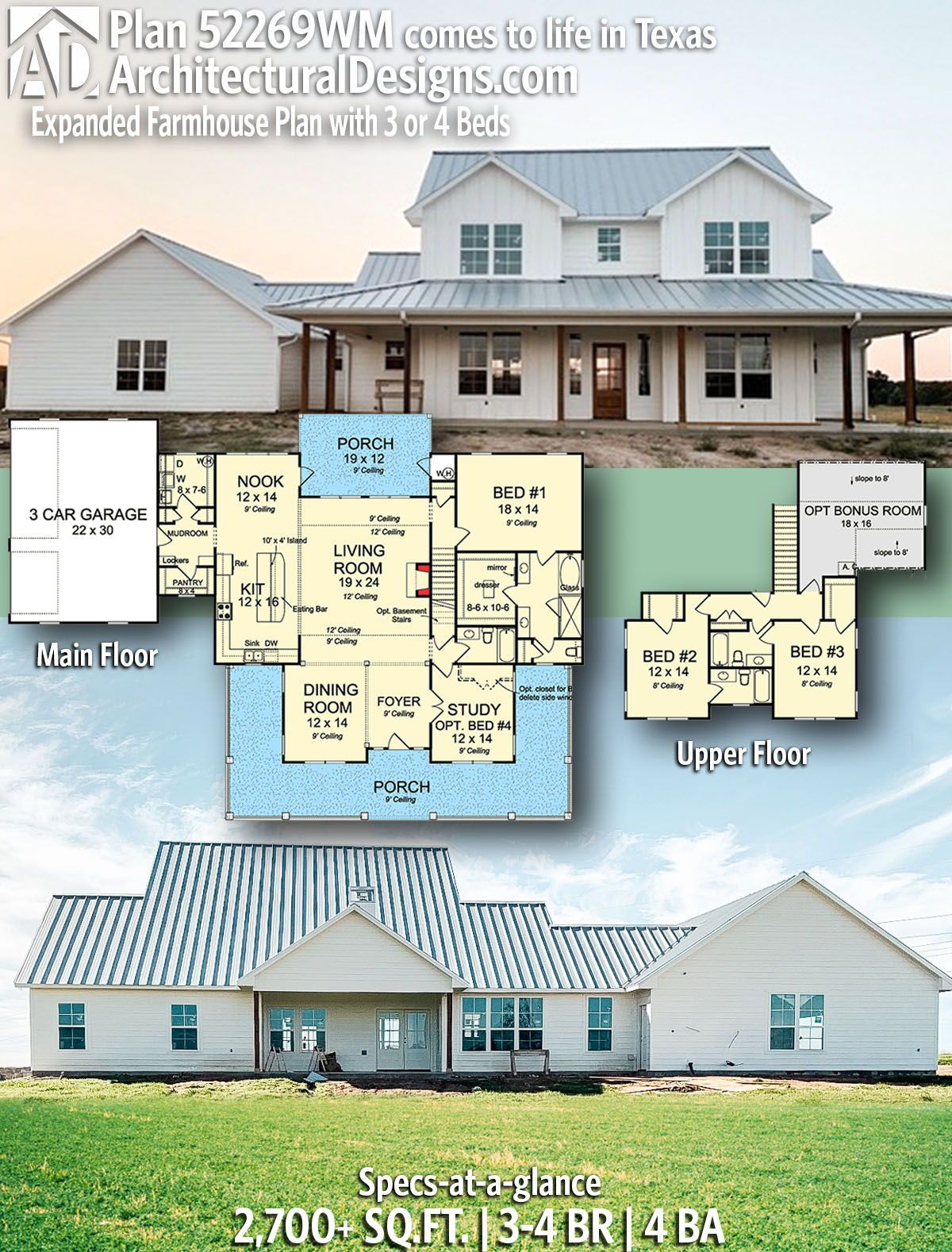 Plan 52269wm Expanded Farmhouse Plan With 3 Or 4 Beds Farmhouse Plans Country House Plans House Blueprints