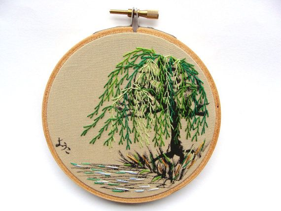 Japanese Calligraphy With Hand Embroidered Weeping Willow