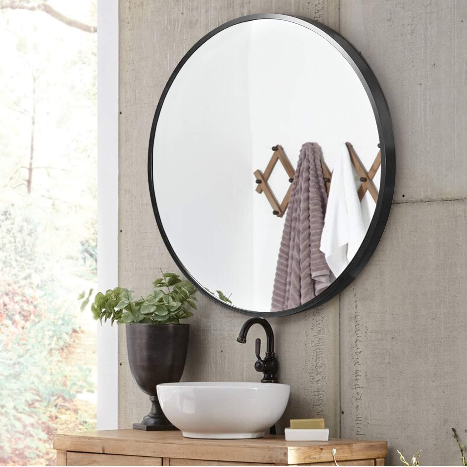 Neutype 32 Black Round Wall Mirror Modern Aluminum Alloy Frame Accent Wall Mounted Decorative Mirror Black Round Mirror Round Mirror Bathroom Accent Mirrors [ 1500 x 1500 Pixel ]