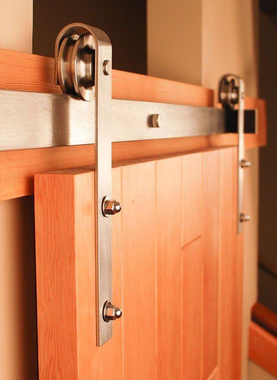 Satin Nickel Brushed Stainless Steel Sus304 Modern Barn Wood Sliding Door Hardware Track Kit