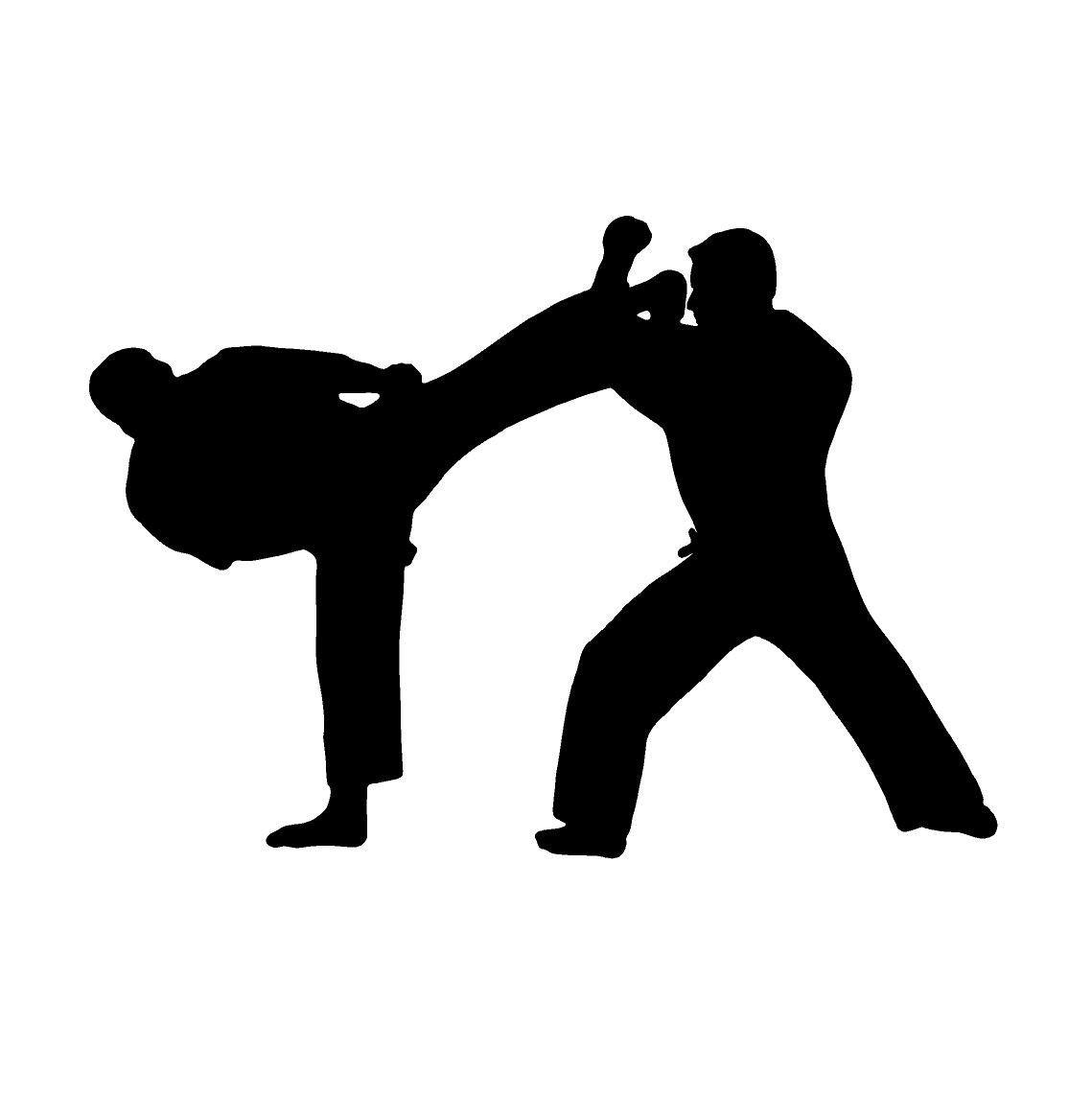 Karate Martial Arts Silhouette Decals Custom Vinyl Laptop Car Truck Window Stickers Martial Arts Karate Martial Arts Karate [ 1143 x 1139 Pixel ]