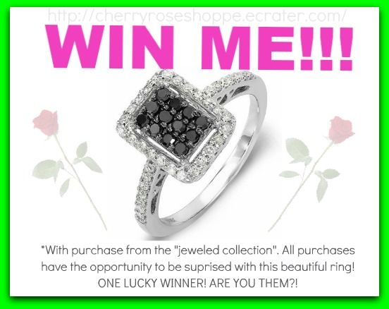 1/2+ carat black & white diamonds set on a gorgeous 10k white gold band. Size 7, but can be sized! Value over 1000USD! Will you be the lucky winner?!!!!!