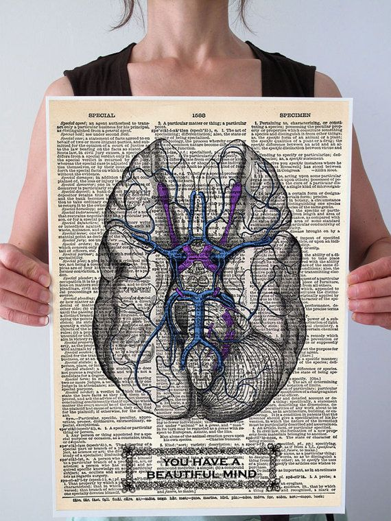 You have a beautiful mind blue brain anatomy by patricianprints patricianprints you have a beautiful mind blue brain anatomy medical diagram illustration art print poster antique dictionary book page more sizes ccuart Choice Image