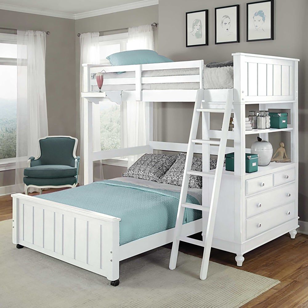 Lake House White Full Loft Bunk Bed With Full Lower Bed In 2020 With Images Loft Bunk Beds House Bunk Bed Twin Loft Bed