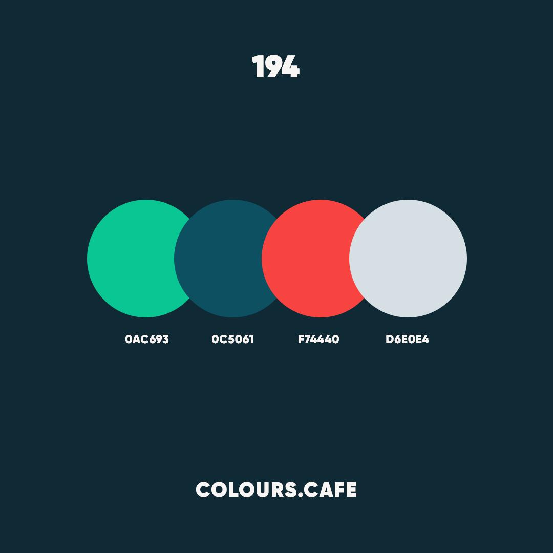 """Colours/Colors cafe on Instagram: """"#colour194 . #0ac693 #0c5061 #f74440 #d6e0e4 . #colors #color #colours #colour #palette #colorscheme #colourscheme #ui #colorful…"""""""