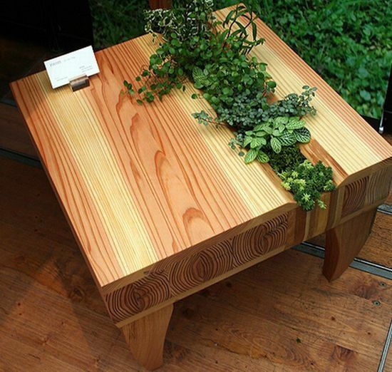 Table de jardin en palettes avec jardinière incorporée   Projets à ...