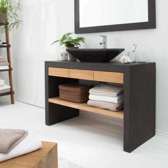 Waschtisch Akoda Eiche Massiv Beton Waschtisch Grosse Badezimmer Zeitgenossische Badezimmer