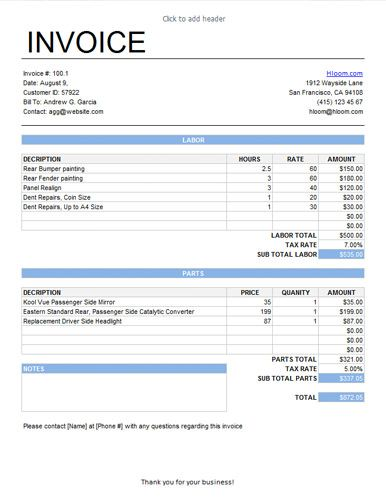 hourly billed service invoice template with labor and parts