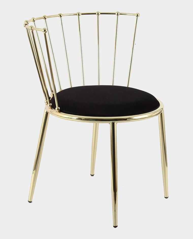 Produktbild Designer Stuhl Emma Farbe Schwarz Gold Beine Aus