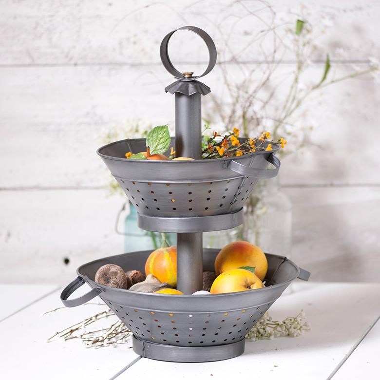 Farmhouse Colander Two Tier Display The Reclaimed