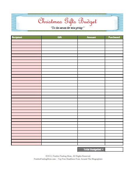 Free Printable Worksheet Budget Spreadsheet Christmas Gifts - blank spreadsheet template