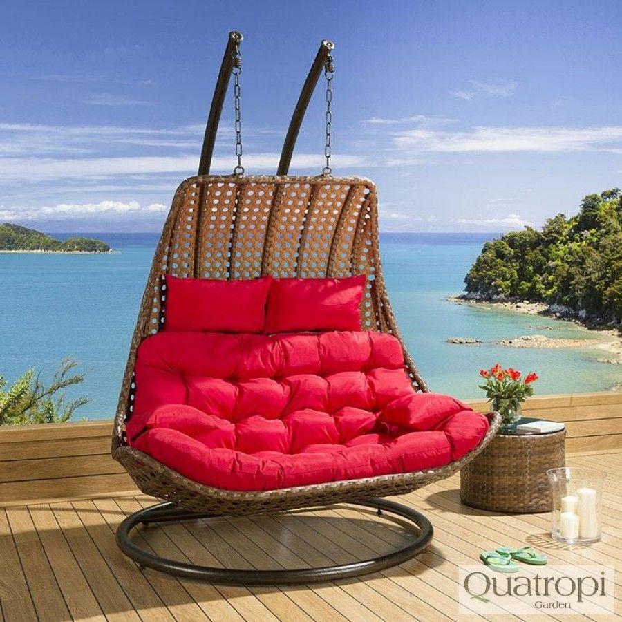 Outdoor Rattan 2 Person Garden Hanging Chair / Sunbed Brown / Red ...