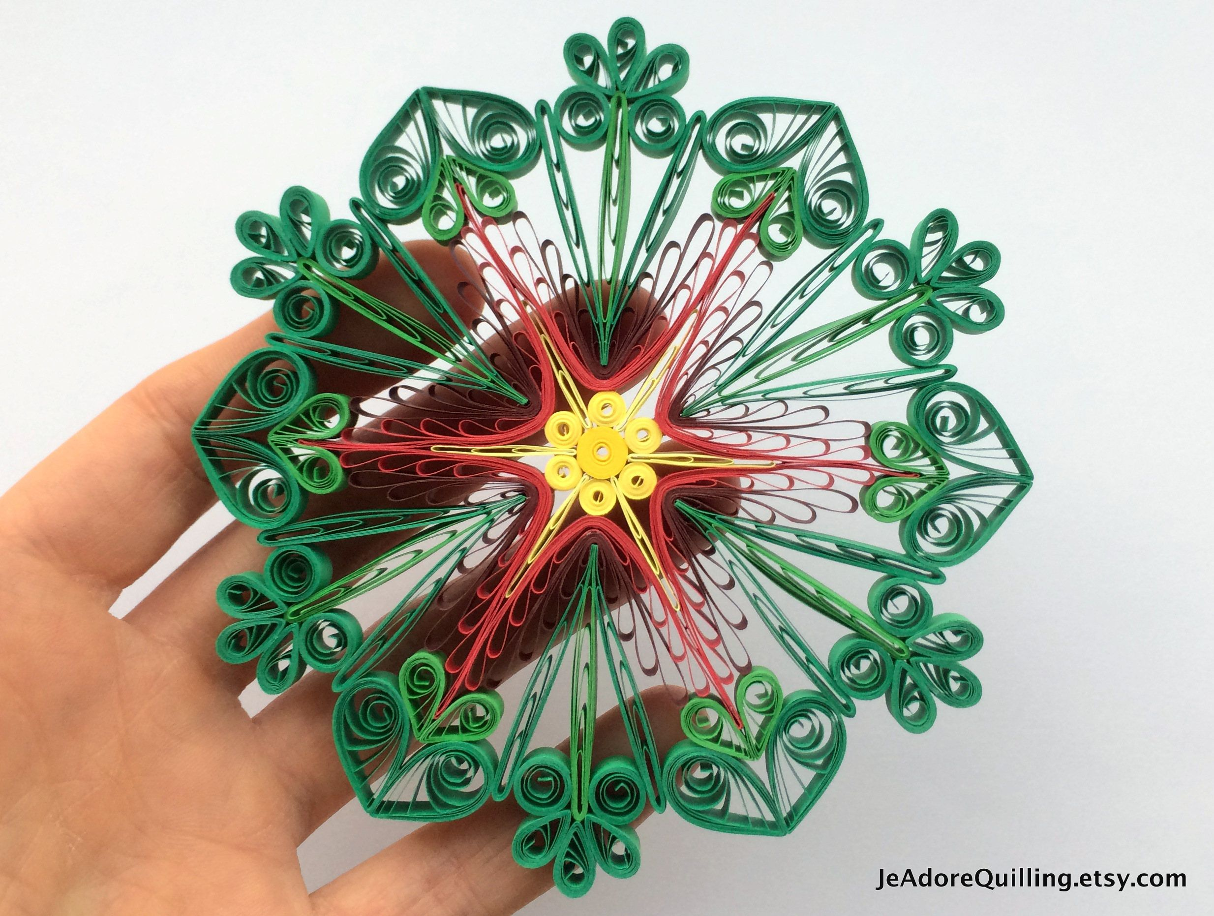 Snowflake Poinsettia Red Green Christmas Tree Decoration Winter Ornaments Gifts