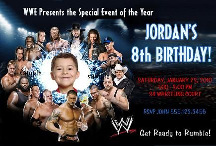 Adorable image with wwe birthday invitations printable free