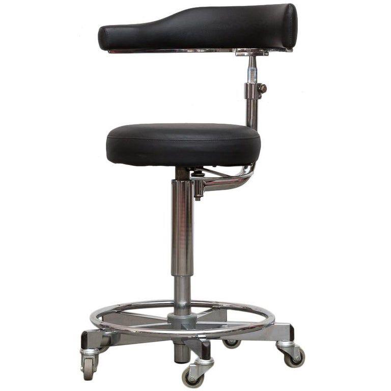 German Rolling Task Stool | Metal chairs, Stool, Leather ...