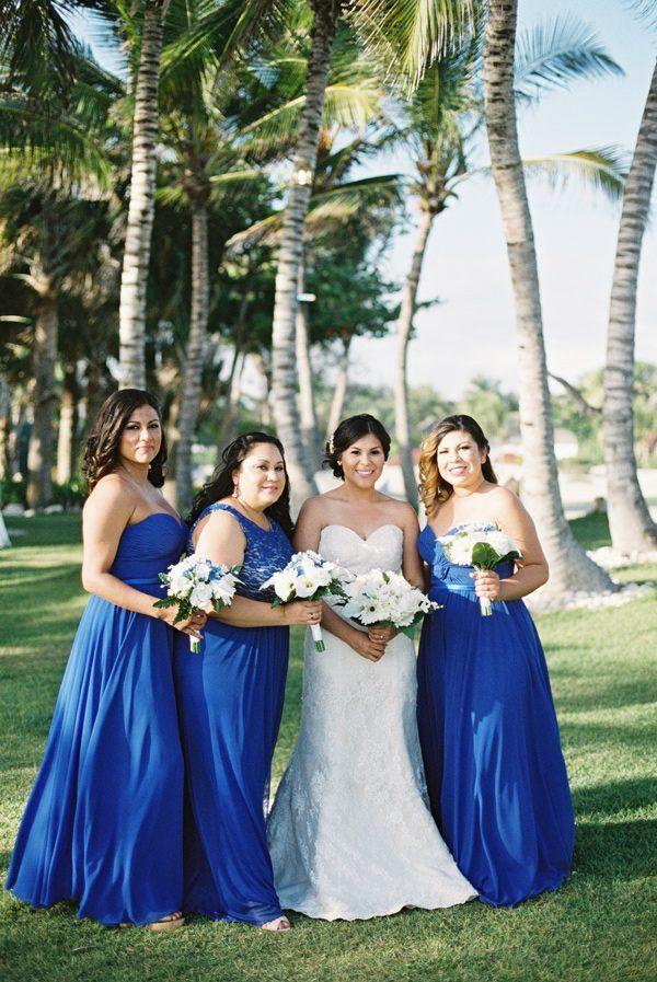 Blue bridesmaids dresses   photo by Asia Pimentel Photography  http ruffledblog comDominican Republic Destination Wedding   Dominican republic  . Destination Wedding Bridesmaids Dresses. Home Design Ideas