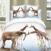 Hot! Elephant and giraffe animals 3d printed 100%cotton bedding set