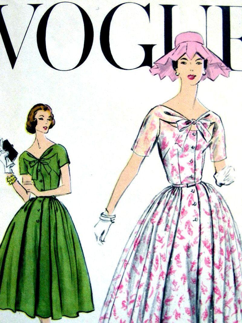 Vintage 50 S Vogue Garden Party Dress Sewing Pattern 9106 Elegant Size 14 34 Uncut Vintage Vogue Patterns Vintage Dress Patterns Garden Party Dress [ 1067 x 800 Pixel ]