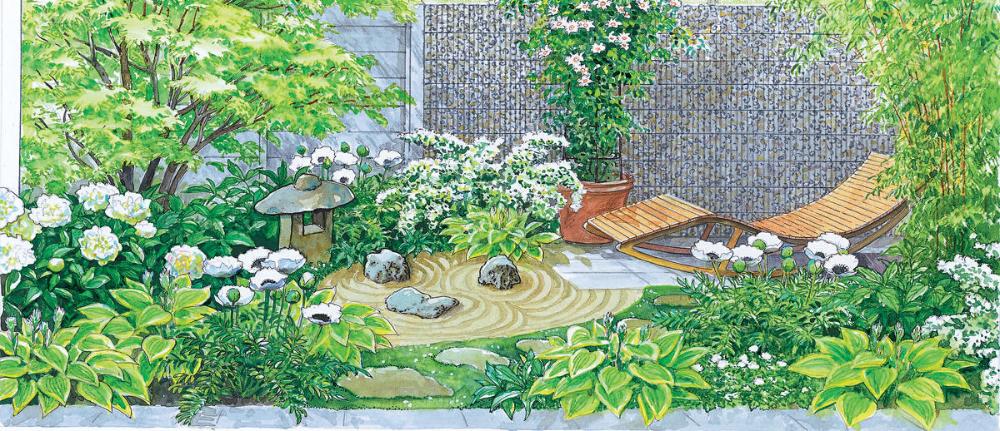 Asiagarten Mit Liegestuhl In 2020 Reihenhausgarten Bluhende Pflanzen Taglilie