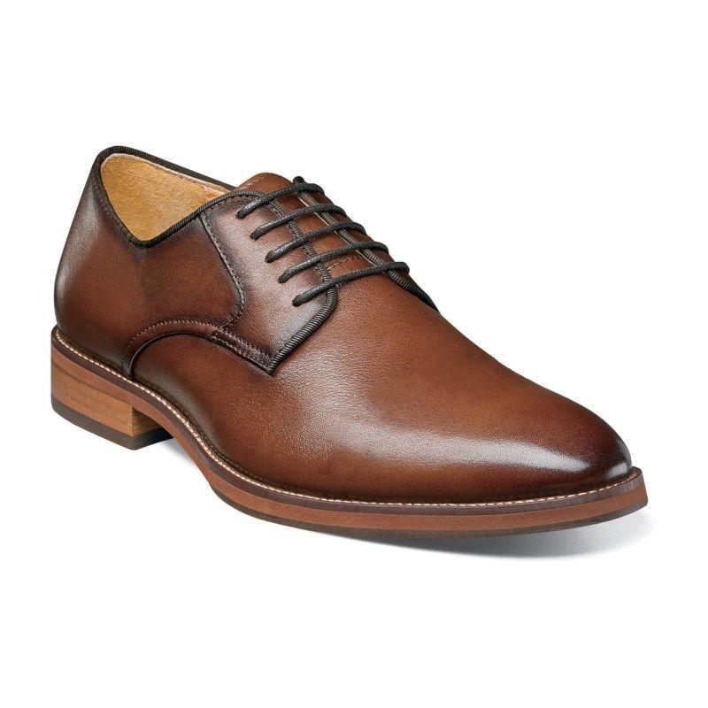 Plain Toe Oxford Shoes (Cognac Leather