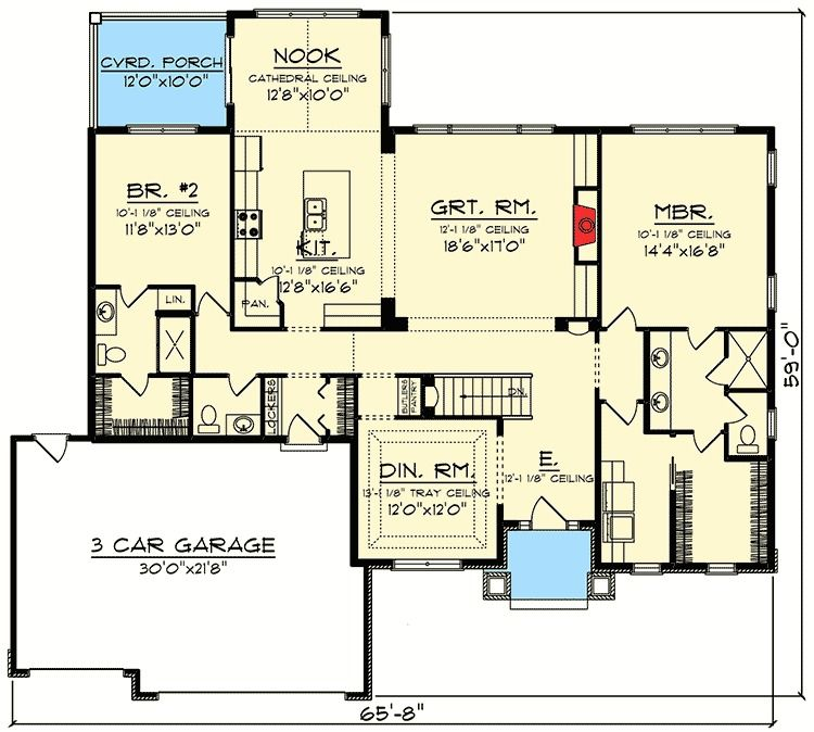 Ranch Style House Plan 2 Beds 2 Baths 1076 Sq/Ft Plan