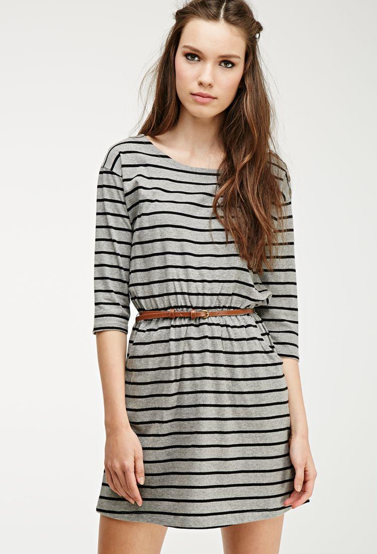 Stripe Print Belted Dress.