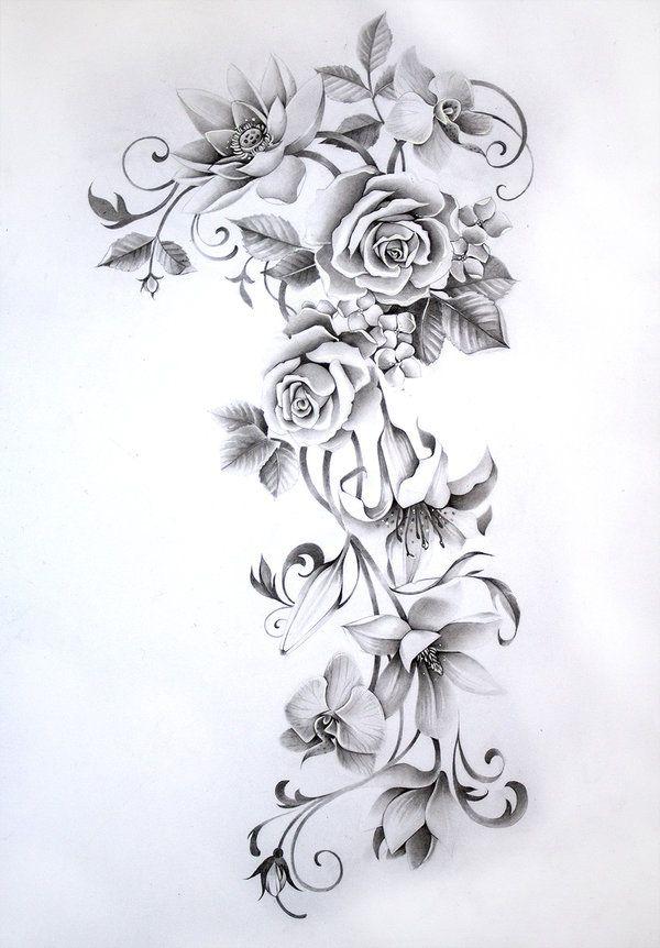 flower sleeve tattoo by Nevaart on DeviantArt