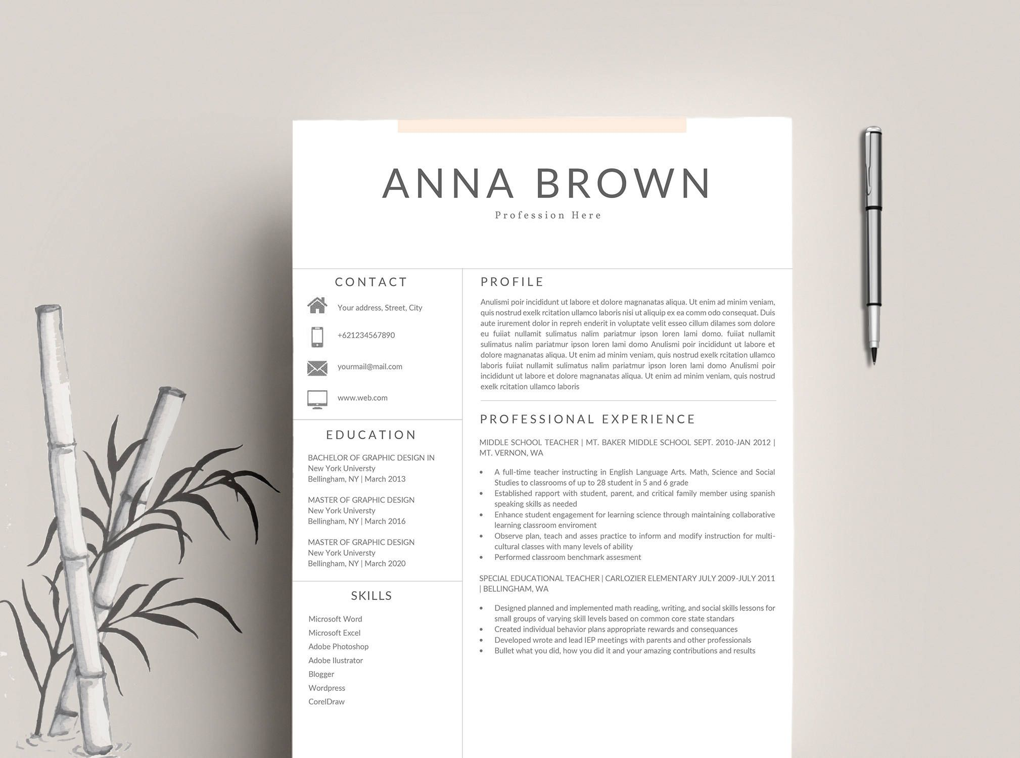 Modern Resume Template  Cv Template For Word Cover Letter  Page