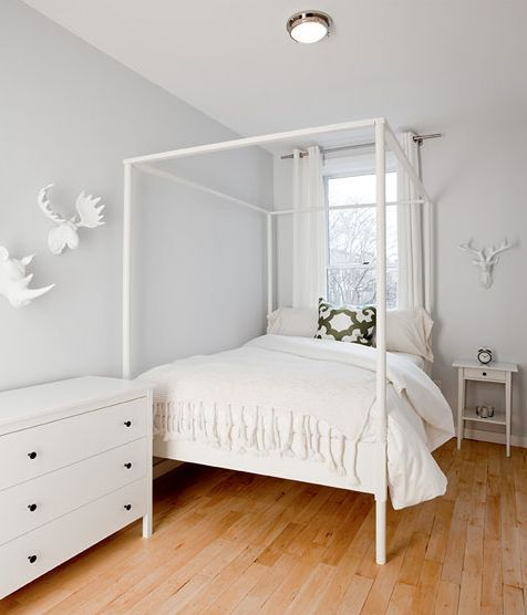 Himmelbett ikea edland  The Brooklyn Home Company: Girls bedroom with pale gray blue walls ...