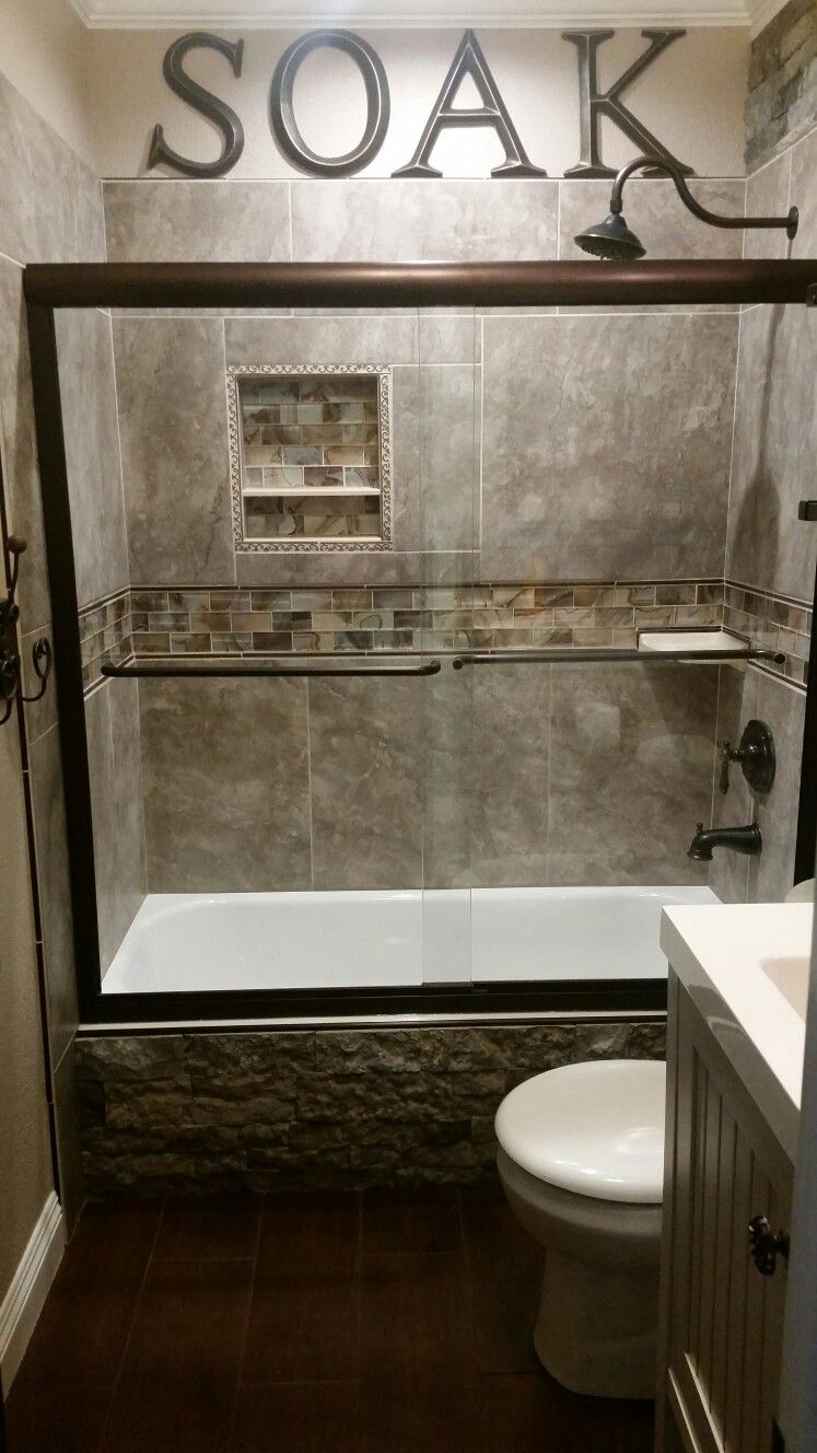 DIY Rustic Small Guest Bathroom...accented with Airstone Faux Stone ...