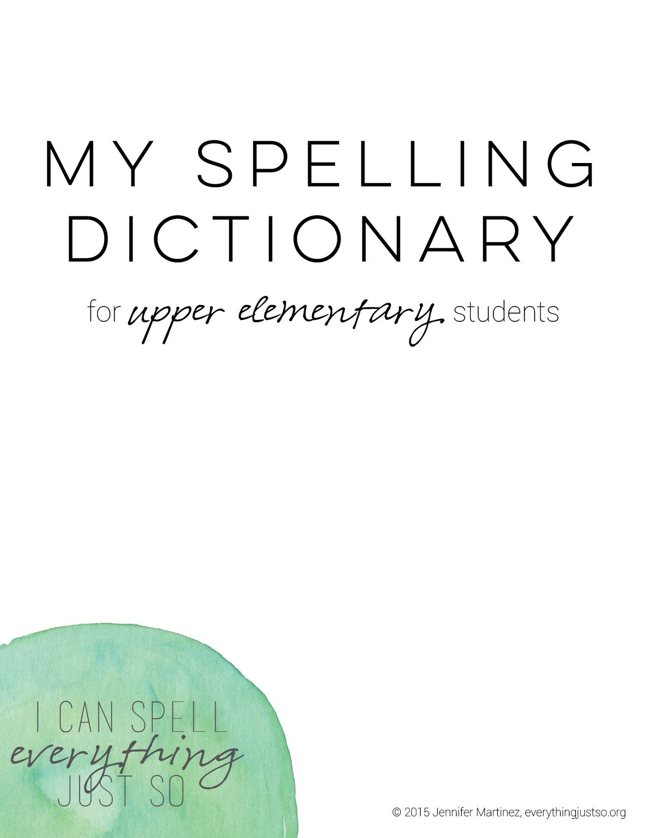 My Spelling Dictionary For K 2 Students