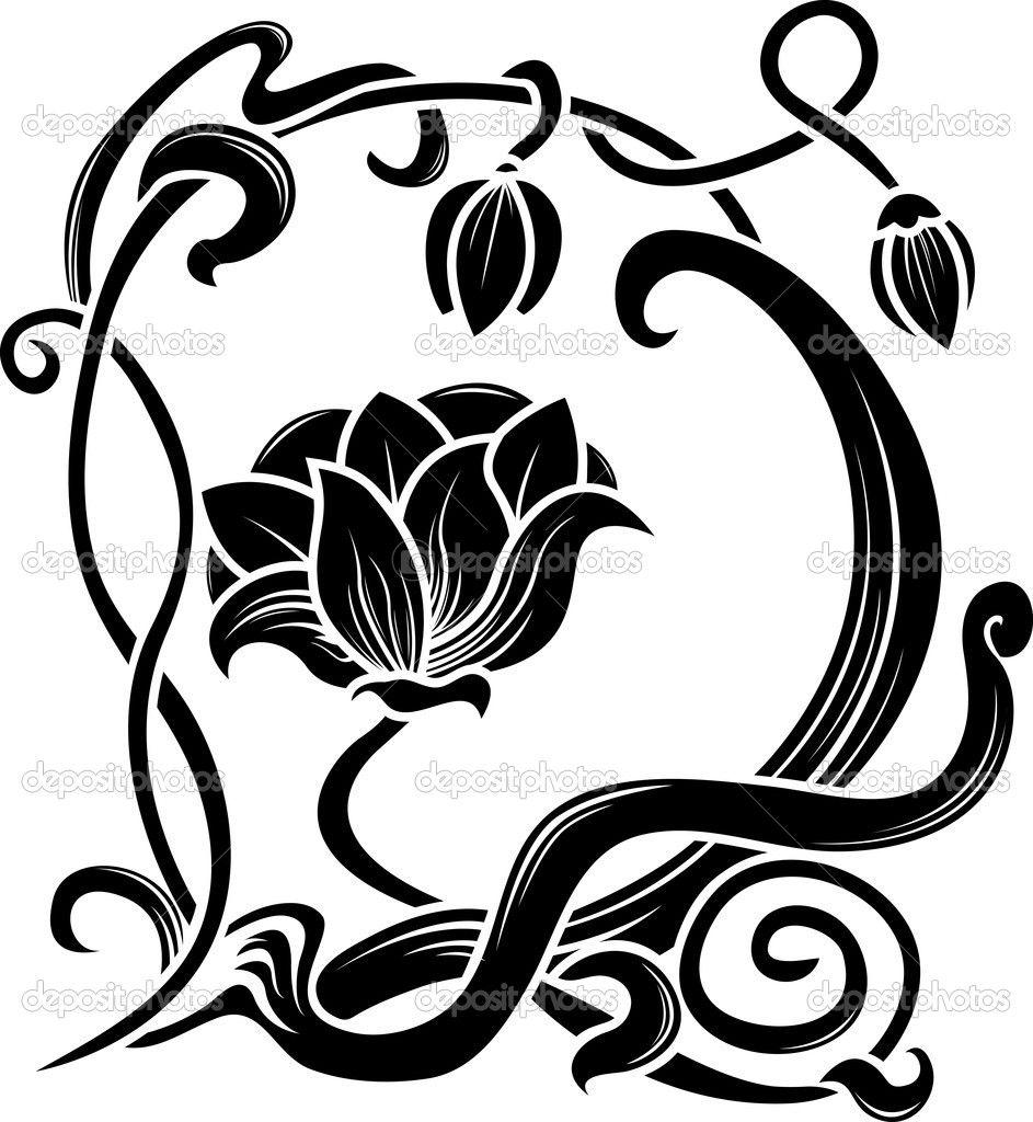 Blumen schablone stockvektor 6908698 tattoo pinterest jugendstil blumen schablone und - Schablone wandmalerei ...