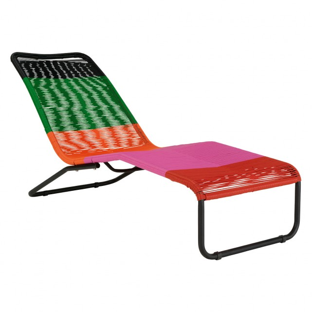 The Jambi Multi Coloured Garden Lounger Chair Updates The Classic Design With Broad Bands Of Vibr Garden Lounger Chairs Garden Loungers Garden Furniture Design
