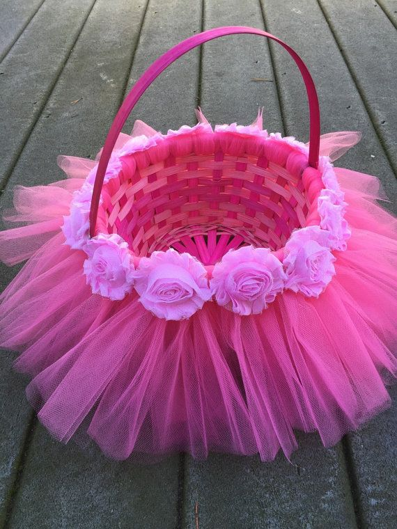 Diy easter basket with tulle and flowers kids pinterest pink tutu easter basket by myprecioustutu on etsy negle Images