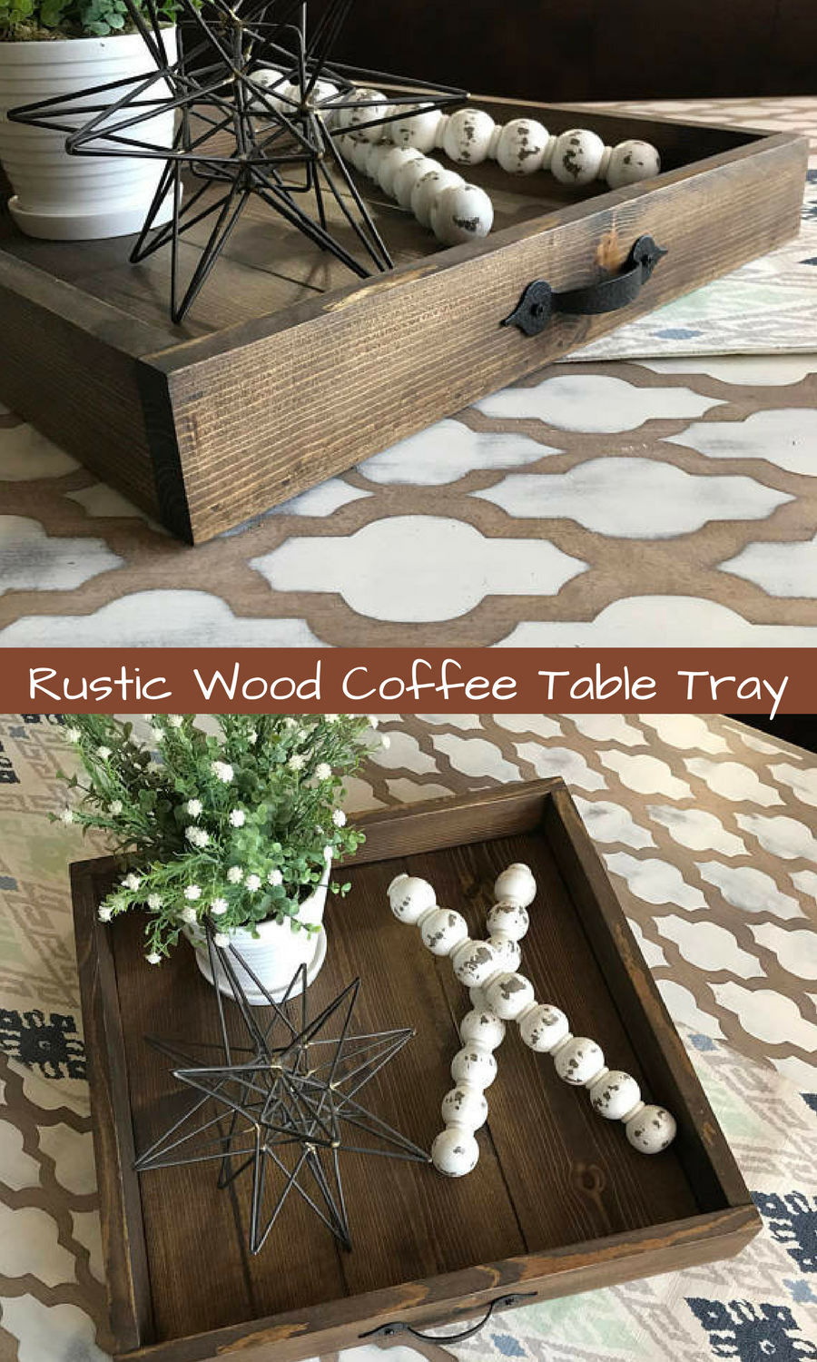Rustic Wood Coffee Table Tray Home Decor Ottoman Serving