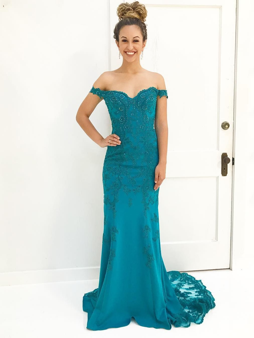 Gorgeous off the shoulder mermaid teal long prom dress formal