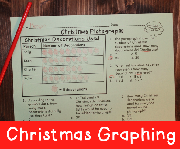 Christmas Graphing Printables - Pictographs, Bar Graphs, and Line Plots - all with multiple choice questions
