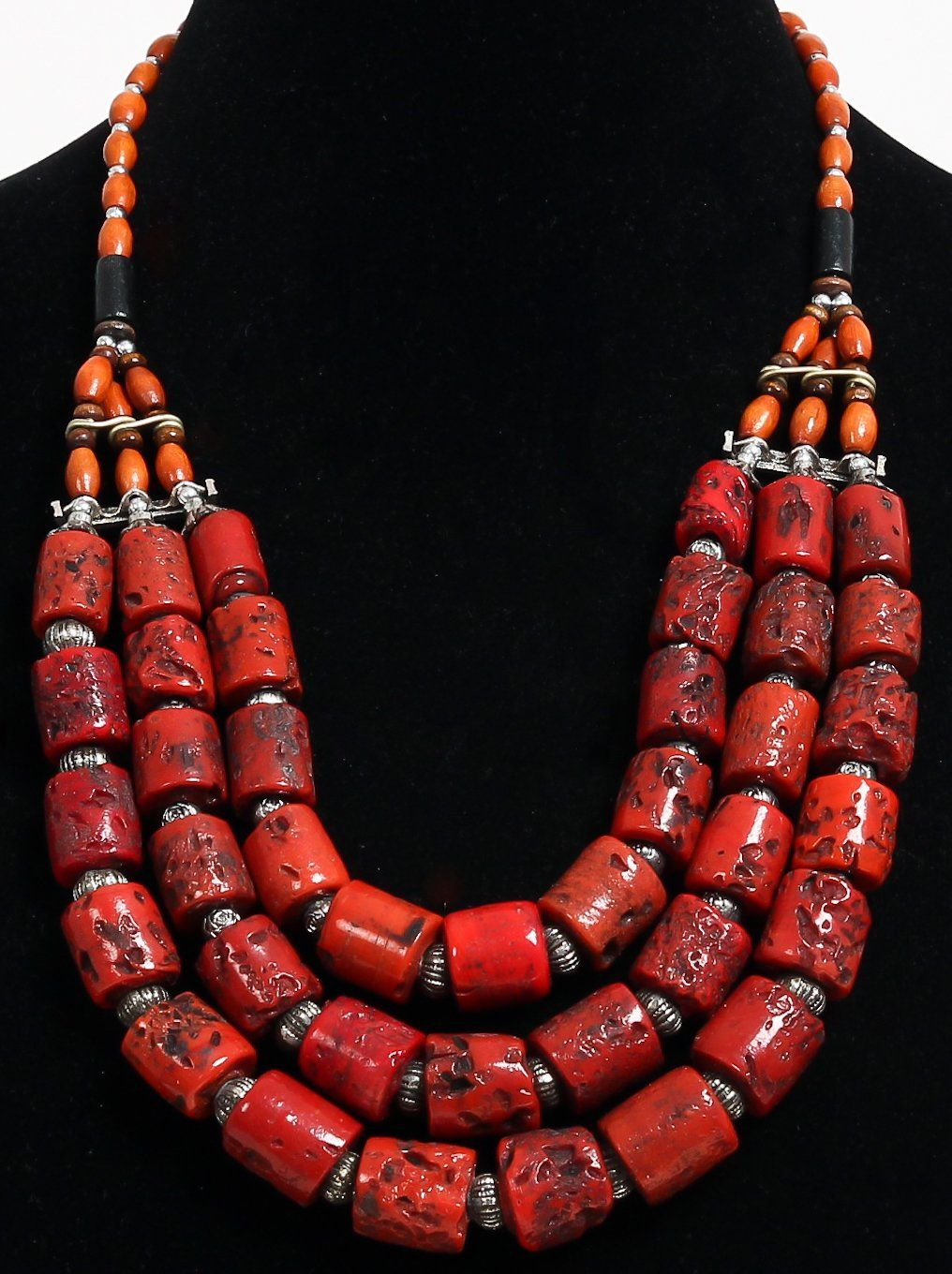 collier perle corail rouge