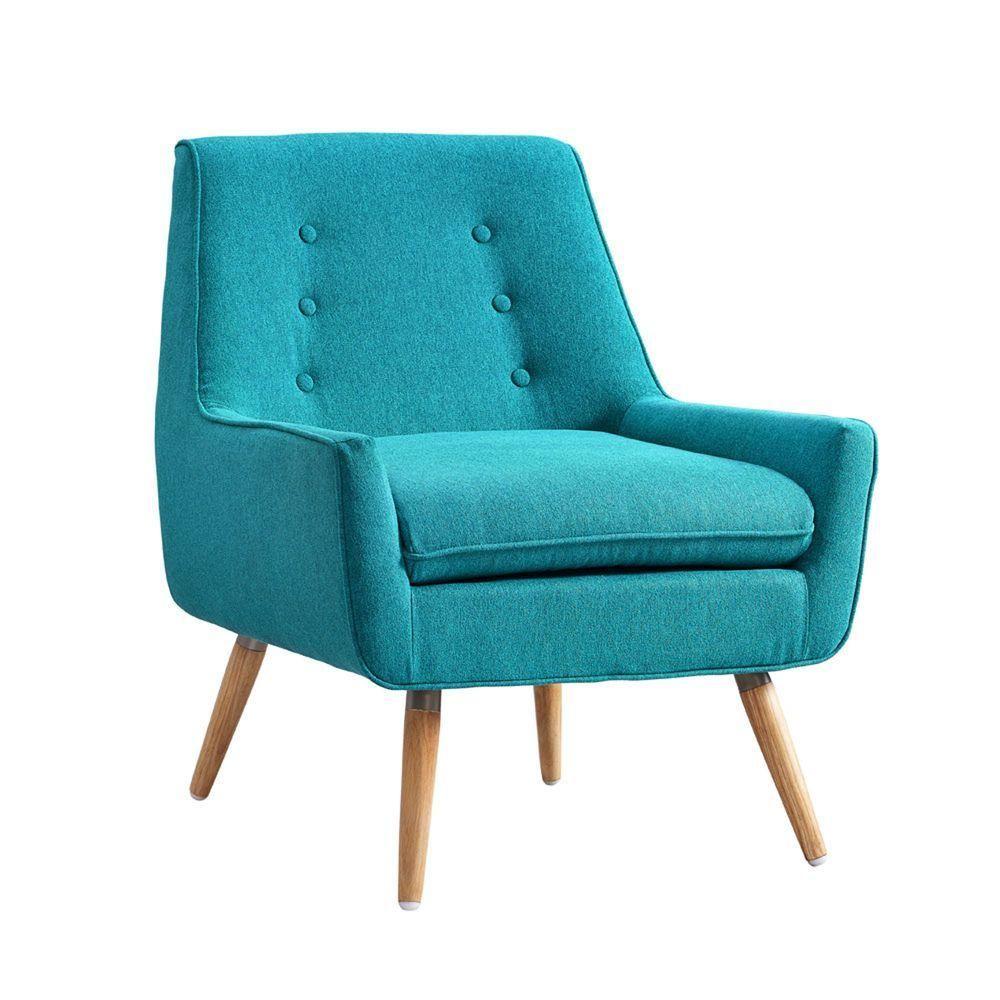 Best Linon Home Decor Trelis Bright Blue Microfiber Arm Chair 640 x 480