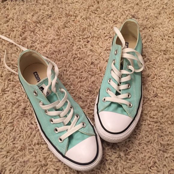 Mint Green Converse Excellent condition, no stains. Only worn them once, didn't match much in my closet. Not looking to trade. I will negotiate price if you put in an offer Converse Shoes Sneakers