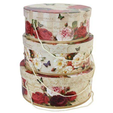 Tri Coastal Design Devon Roses Set Of 3 Round Hat Storage Or