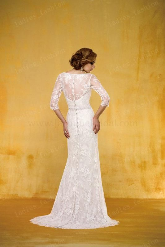 Wholesale A-Line Wedding Dresses - Buy Vintage Elegant A-Line Lace Wedding Dresses Bridal Gown 3/4 Long Sleeves Beaded Sweep Train Covered B...