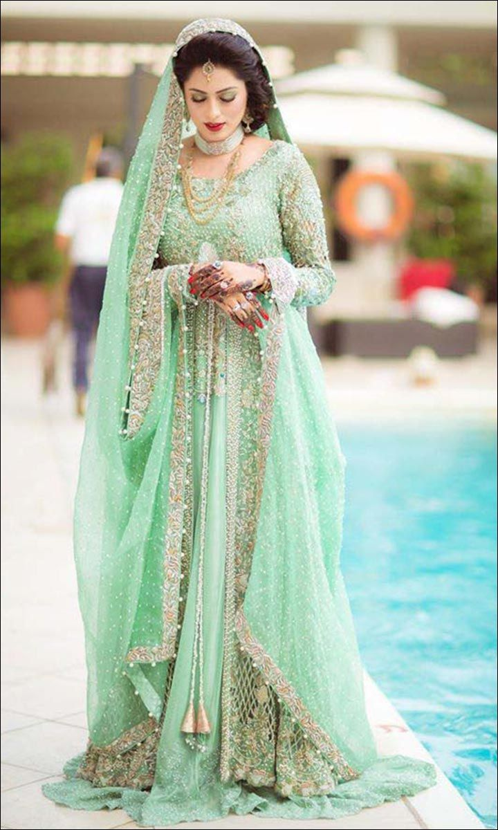 155f7d9fa6 Bridal Barat and Valima Dresses Designs Collection. Pastel green sharara is  good for both the wedding and reception | Wedding idea | wedfine.com