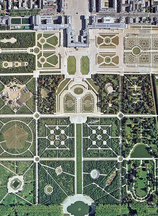 Superb Versailles gardens from above